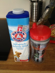 Milk and Sippy Cup almost the same size